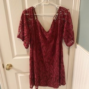 Gorgeous maroon lace dress!!